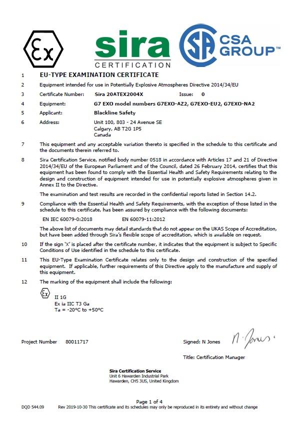 G7 EXO CSA ATEX Certification